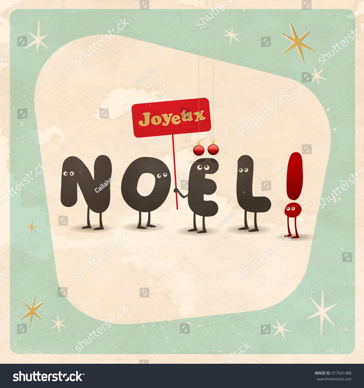 stock-vector-vintage-style-funny-christmas-card-joyeux-noel-french ...